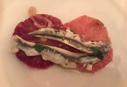 Anchovy and blood orange