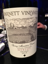 Barnett Vineyards Spring Mountain District Estate Bottled Merlot 2014, Napa Valley