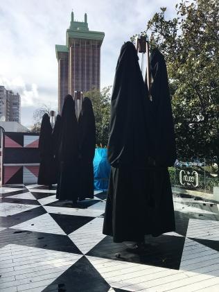 Madrid outdoor umbrellas masquerading as nuns