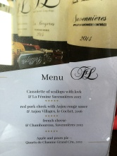 Menu at Domaine FL