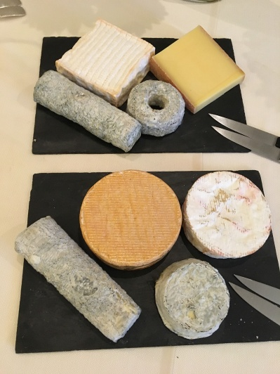 Cheese tray at Domaine des Hautes Roches