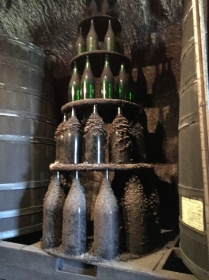 Tower of bottle sizes at Domaine Couly-Dutheil